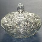 ANCHOR HOCKING EARLY AMERICAN PRESCUT GLASS STAR OF DAVID COVERED CANDY DISH