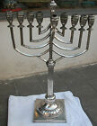 HUGE ANTIQUE  ART DECO POLISH SILVER HANUKKAH MENORAH - JUDAICA