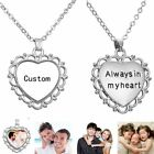 HOT Personalized Engraved Custom Photo Heart Pendant Chain Silver Necklace Gift