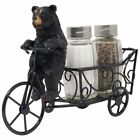 Black Bear Riding Bicycle Display Salt Pepper Cart Stand Holder Gift Kitchen New