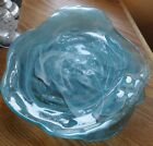 Art Glass Blue and White Swirl Platter Plate Dish Serving Tray MINT