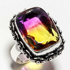 BI-COLOR TOURMALINE GEMSTONE 925 SILVER JEWRLRY RING 10