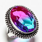 BI-COLOR TOURMALINE GEMSTONE 925 SILVER JEWRLRY RING 7.5