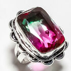 BI-COLOR TOURMALINE GEMSTONE 925 SILVER JEWRLRY RING 6.75