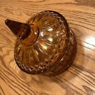 Vintage Indiana Glass Dark Amber Glass Candy Dish with Lid