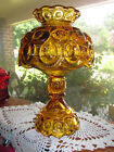 Vintage L. E. Smith Amber Moon and Stars Candle Lamp in Very Good Condition