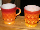 2-Dark Red to Orange Kimberly Mug Fire King Oven Proof Coffee Cup Anchor Hocking