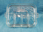 Vintage Indiana Glass Clear Divided Fruit Veggie Relish Tray Plate Dish
