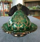 RARE DUGAN GLASS GREEN WITH GOLD MAPLE LEAF PATTERN BUTTER DISH