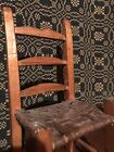 Antique Primitive Folk Art Carved Caned Seat Wood Ladderback Toy Doll Chair AAFA