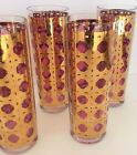 Set of 8 Georges Briard Tumblers Gold Encrusted Cranberry High Ball Glasses 60's