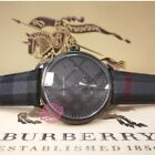 BURBERRY Men's BU10010 BLACK 40mm Classic Round Watch with Black Leather Strap