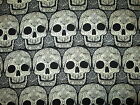 SKULL HEADS FANCY SKULLS WICKED BLACK WHITE COTTON FABRIC FQ