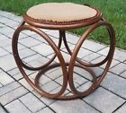 Vintage Bentwood cane wicker bamboo ottoman footstool Mid Century