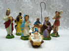 Vtg 7 Pc Nativity Figures Manger Hand Painted Italy 1940s 50s Paper Mache Set