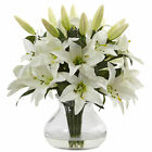 Artificial 135 White Lily Flowers Floral Arrangement in Faux Water Glass Vase