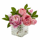 Artificial 8 Pink Peony Silk Flowers Arrangement in Decorative Cube Glass Vase