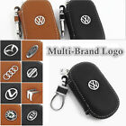 Multi-Brand Women Men Genuine Cow Leather Zip Car Key Bag Holder Chain Ring Case