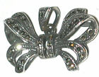 Vintage Sterling silver Marcasite Bow Pendant Necklace
