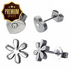 2 x Pairs of Stainless Steel Stud Earrings (Crystal Love Heart and Flower)