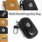 Multi-Brand Genuine Cow Leather Men Women Zip Car Key Bag Chain Ring Case Holder
