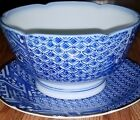 Blue and White Bowl and Plate, Matching Patterns, 3