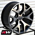 22 inch Wheels for Chevy Tahoe 2014 2015 GMC Sierra Black Machined Rims 22x9