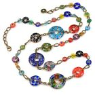 NEW SWEET ROMANCE MILLEFIORI GLASS CIRCLES RAINBOW MODERN NECKLACE MADE IN USA