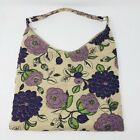 Leko London Bag Beige & Purple Floral Carpet Tapestry Vtg Style with Beading