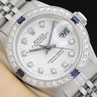 LADIES ROLEX DATEJUST 18K WHITE GOLD DIAMOND SAPPHIRE & STEEL WATCH - WHITE DIAL