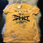 NWT Mens Yellow Tie Dye My Life Is Shit/Beautiful T Shirt Size Medium Nice!