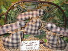 3 handmade Country black check fabric rabbit bowl fillers Farmhouse Home Decor