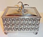 Antique Silver Plate Open Work Box w/Bird Wings Spread