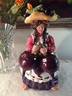 """Laura Kelly 18 Carrots Blue Sky Peasant Woman 11"""" Tall Votive Candleholder Beets"""