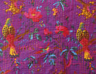 ndian Twin Kantha Quilt Bird Print Bed Cover Bedspread Blanket Throw Purple