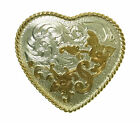 Award Design Heart Shape Small Western Belt Buckle Etched Flowers Silver Gold