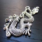 Asian Dragon Charms 52mm Antiqued Silver Plated Pendants C8589 2 5 Or 10PCs