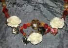Fairy Flower Neckklace And Earrings White Roses,Red,Gold,Crystals