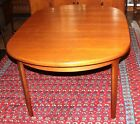 Mid-Century Teak Wood Round Extending Dining Room Table Expandable Furniture