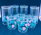 Vintage Retro Drinking Glasses Hand Painted Pink Aqua Floral Set of 8.