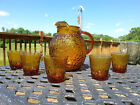 Mid Century Depression Lido Honey Amber Pitcher 5 Juice Glasses Anchor Hocking
