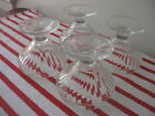 4 Vintage Jeannette 4oz Ribbed Footed Low Sherbet Soda Fountain Glasses 3 1/8