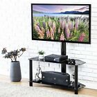 Audio Media Cabinet Glass Black TV Stand With Mount For 32 65 Flat Screen