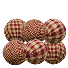 Primitive Country Lot of 6 - Rag Balls 2.25 in Bowl Filler Burgundy Gingham NIP