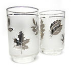 Vintage LIBBEY Silver Foliage Beverage Glasses Set of Two 12 Ounce Glasses