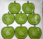 Hazel Atlas Orchard Apple Embossed Set 8 Apple Shaped Green Salad Dessert Plates