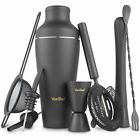 VonShef Matte Black Parisian Cocktail Shaker Set Stainless Steel with Gift Box