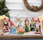 Christmas Gnome Nativity Scene Holiday Table or Mantel Decoration 7 PC Set Resin