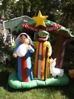 Nativity 8 Ft Jesus Mary Joseph Airblown Inflatable Gemmy Christmas Yard Blow Up