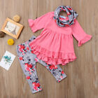 US STOCK Floral Kids Baby Girls Outfit Clothes T shirt Long Tops Dress+Pants Set